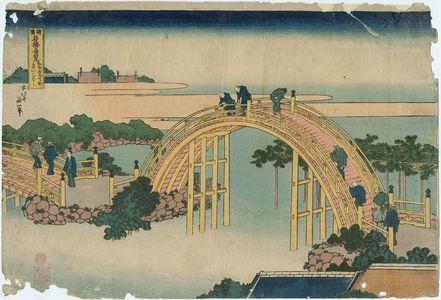 葛飾北斎: The Drum Bridge at Kameido Tenjin Shrine (Kameido Tenjin taikobashi), from the series Remarkable Views of Bridges in Various Provinces (Shokoku meikyô kiran) - ボストン美術館