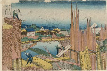 Katsushika Hokusai: Tatekawa in Honjo (Honjo Tatekawa), from the series Thirty-six Views of Mount Fuji (Fugaku sanjûrokkei) - Museum of Fine Arts