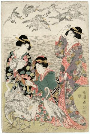 Torii Kiyomine: Parody of the Story of Yoritomo Releasing Cranes at Yuigahama - Museum of Fine Arts