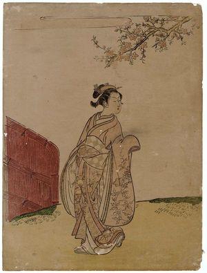 Suzuki Harunobu: Young Woman under a Peach Tree - Museum of Fine Arts