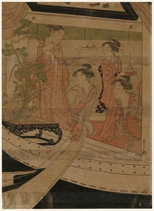 細田栄之: A Party on the Pleasure Boat Yoshinomaru - ボストン美術館