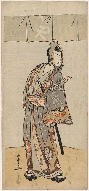 勝川春章: Actor Ichikawa? as Soga no Goro - ボストン美術館