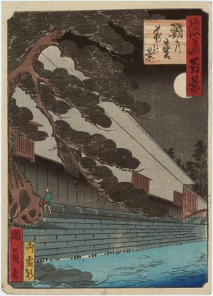 Utagawa Kunikazu: Night View of the Octopus Pine (Tako-no-matsu yoru no kei), from the series One Hundred Views of Osaka (Naniwa hyakkei) - Museum of Fine Arts