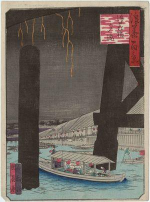 歌川国員: Enjoying the Cool of the Evening at Naniwa-bashi Bridge (Naniwa-bashi yû suzumi), from the series One Hundred Views of Osaka (Naniwa hyakkei) - ボストン美術館