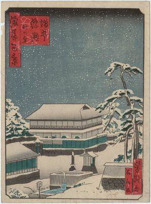 歌川芳滝: NIght Snow at the Ukamuse Restaurant in Masui (Masui Ukamuse, yoru no yuki), from the series One Hundred Views of Osaka (Naniwa hyakkei) - ボストン美術館