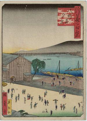 Utagawa Kunikazu: Evening View of Hachiken'ya (Hachiken'ya yûkei), from the series One Hundred Views of Osaka (Naniwa hyakkei) - Museum of Fine Arts