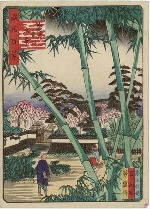 Nansuitei Yoshiyuki: Evening View of Kakuman-ji Temple (Kakuman-ji no yûkei), from the series One Hundred Views of Osaka (Naniwa hyakkei) - Museum of Fine Arts