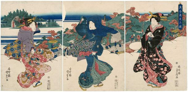 Utagawa Kunisada: Distant View of Ôji (Ôji enmi no zu) - Museum of Fine Arts