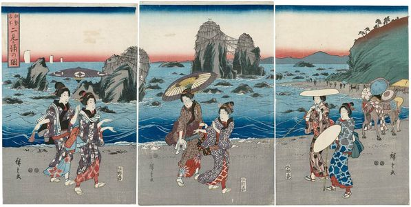 Utagawa Hiroshige: View of Futamigaura (Futamigaura no zu), from the series Famous Places in Ise (Ise meisho) - Museum of Fine Arts
