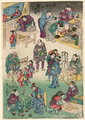 Utagawa Hiroshige: Characters from Plays as Merchants and Customers, from the series Flourishing Business in Balladtown (Jôruri-machi hanka no zu) - Museum of Fine Arts