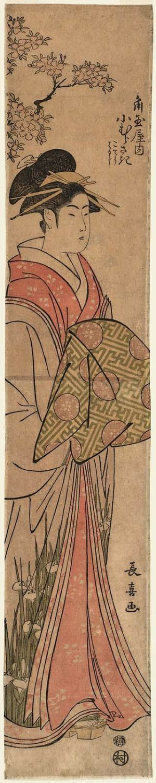 長喜: Komurasaki of the Kado-Tamaya, kamuro Kochô and Haruji - ボストン美術館