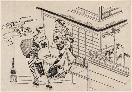 鳥居清倍: Actors Nakamura Takesaburô as Kewaizaka Shôshô and Ichikawa Danjurô as Soga Gorô - ボストン美術館