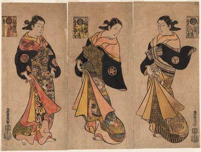 西村重長: Courtesans of the Miuraya, a Triptych: Komurasaki (R), Takao (C), and Miyoshi (L) - ボストン美術館