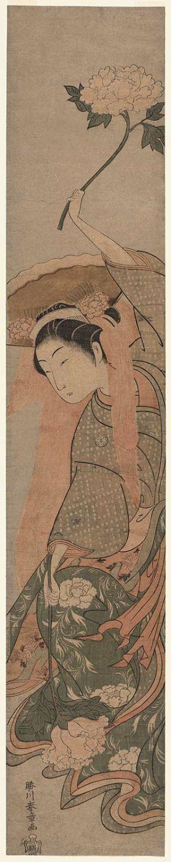 Katsukawa Shunsho: Actor Segawa Kikunojô II in the Lion Dance (Shakkyô) - Museum of Fine Arts