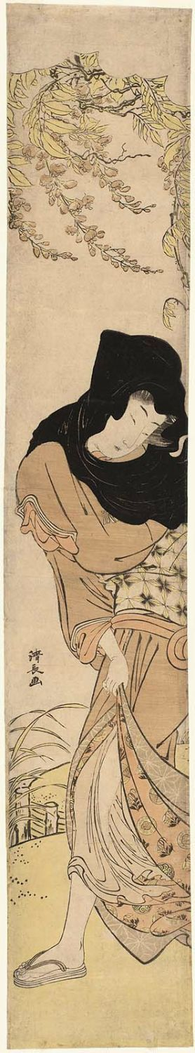 Torii Kiyonaga: Woman in Black Hood under Windblown Wisteria - Museum of Fine Arts