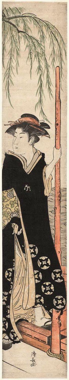 鳥居清長: Geisha Boarding a Boat - ボストン美術館