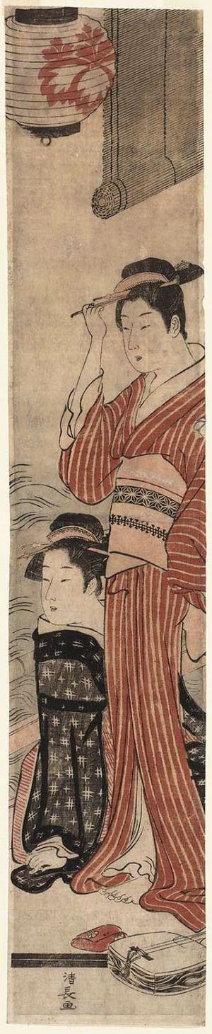鳥居清長: Two Geisha on a Balcony by the River - ボストン美術館