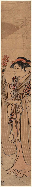 鳥居清長: The Priestess Osute of the Tomigaoka Shrine (Tomigaoka miko Osute) - ボストン美術館