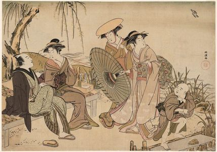 Kitao Masanobu: Listening to a Cuckoo under a Weeping Willow on the Riverbank - ボストン美術館