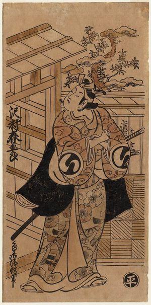 Torii Kiyonobu II: Actor Sawamura Harugorô as Soga no Gorô - Museum of Fine Arts