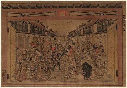 鳥居清忠: The Main Gate, New Yoshiwara (Shin Yoshiwara Ômon-guchi) - ボストン美術館