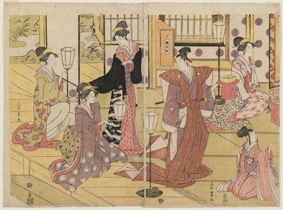 鳥高斎栄昌: The Setsubun Ceremony (Exorcising Demons from the House By Throwing Beans at Them) - ボストン美術館