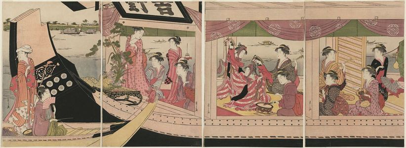 Hosoda Eishi: A Party on the Pleasure Boat Yoshinomaru - Museum of Fine Arts