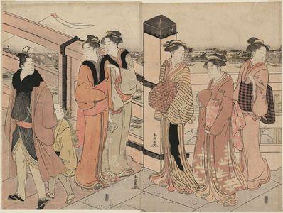 勝川春潮: New Year Street Scene at the End of Ryôgoku Bridge - ボストン美術館