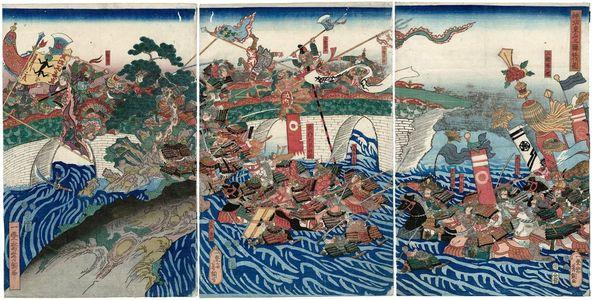 Utagawa Yoshitsuna: Empress Jingû Attacks the Three Korean Kingdoms (Jingû Kôgô Sankan seibatsu no zu) - ボストン美術館