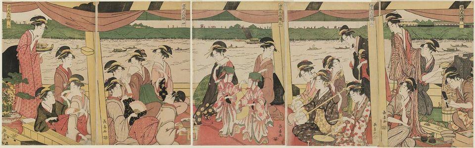 Eishosai Choki: Enjoying Cool Air on a Pleasure Boat, a Pentaptych (Suzumibune gomai tsuzuki) - Museum of Fine Arts