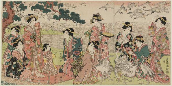 二代目鳥居清満: Parody of the Story of Yoritomo Releasing Cranes at Yuigahama - ボストン美術館