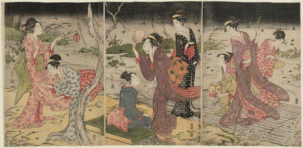 細田栄之: Women Catching Fireflies - ボストン美術館