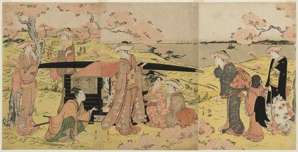 細田栄之: Cherry-blossom Viewing at Goten-yama - ボストン美術館