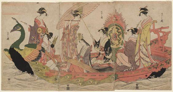細田栄之: Women Playing Music in a Peacock Boat - ボストン美術館