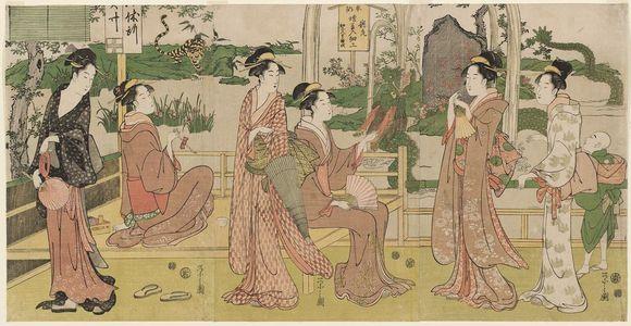 細田栄之: A Dragon and TIger Made of Pipes and Tobacco Pouches (Ryûko tabako-ire saiku) - ボストン美術館