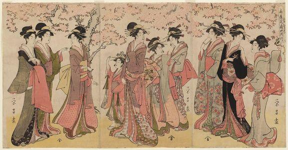 Chokosai Eisho: Hanaôgi of the Ôgiya on an Outing (Ôgiya Hanaôgi yosoyuki) - Museum of Fine Arts