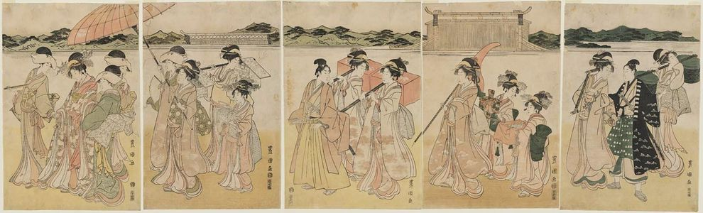 Utagawa Toyokuni I: Lady and Attendants Returning from a Temple Visit - Museum of Fine Arts