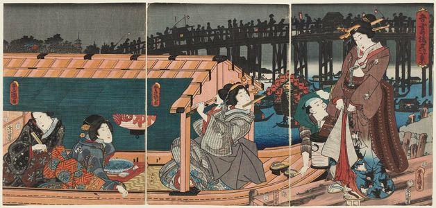 歌川国貞: Scene of Enjoying the Evening Cool at Azuma Bridge (Azuma-bashi yûsuzumi kei) - ボストン美術館