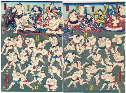 Utagawa Kuniaki: Sumô Wrestlers Practicing - Museum of Fine Arts