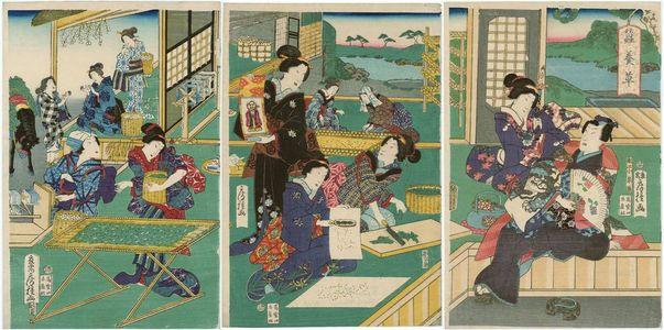 Utagawa Fusatane: Silkworm Cultivation (Kaiko yashinai gusa) - Museum of Fine Arts