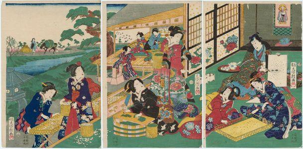 Utagawa Fusatane: Silkworm Cultivation - Museum of Fine Arts