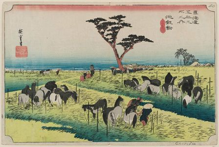 歌川広重: Chiryû: Early Summer Horse Fair (Chiryû, shuka uma ichi), first (?) state, from the series Fifty-three Stations of the Tôkaidô (Tôkaidô gojûsan tsugi no uchi), also known as the First Tôkaidô or Great Tôkaidô - ボストン美術館