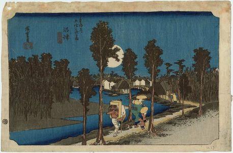 Utagawa Hiroshige: Numazu: Twilight (Numazu, tasogare zu), from the series Fifty-three Stations of the Tôkaidô Road (Tôkaidô gojûsan tsugi no uchi), also known as the First Tôkaidô or Great Tôkaidô - Museum of Fine Arts