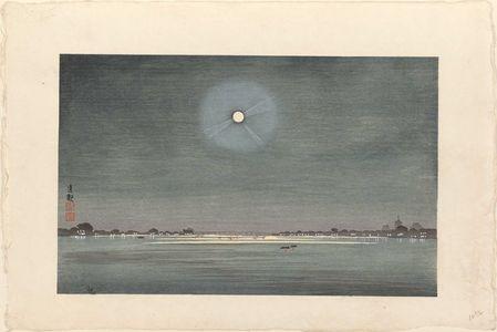 小林清親: Winter moon over Kinryuzan, seen from the bank of the Sumida (Bokutei yori nozomu Kinryuzan fuyu no tsuki), from an untitled posthumous series - ボストン美術館