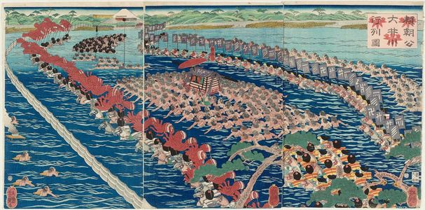 Utagawa Yoshitsuya: Lord Yoritomo and His Entourage Ford the Ôi River (Yoritomo kô Ôigawa gyôretsu [no] zu) - Museum of Fine Arts