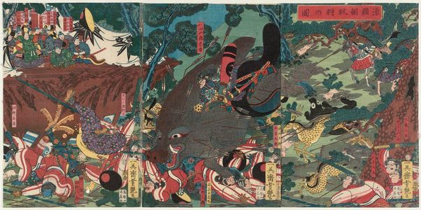 Utagawa Yoshitsuya: Minamoto Yoritomo's Hunting Party (Minamoto Yoritomo makigari no zu) - Museum of Fine Arts