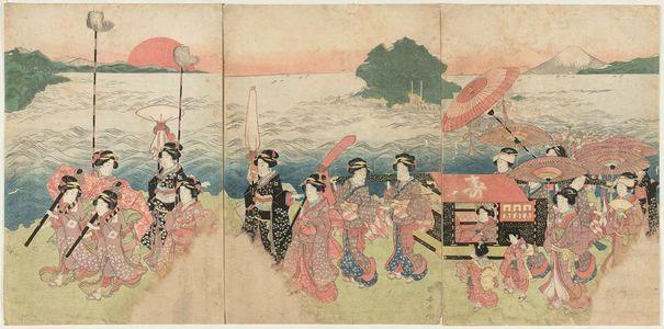 歌川国安: Procession of Women Passing Enoshima - ボストン美術館