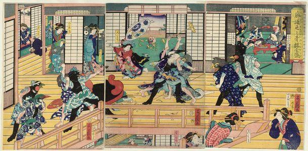 Yoshifuji: Connoisseurs of the Yoshiwara: A Flourishing House of Pleasure / Birds at Play: A Commotion in the Birdcage (Asobi wa toridori kago no nigiwai) - Museum of Fine Arts