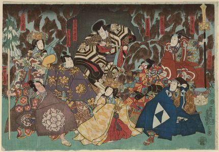 歌川国貞: Actors Bandô Hikosabûrô IV as Hôjô Tokimune, Onoe Shôroku 1.5 as Chibanosuke, Ichikawa Saruzô I (?) as Ema no Koshirô, Onoe Kikujirô II as Kagekiyo Tsuma Akoya, Ichikawa Ebizô V as Akushichibei Kagekiyo, Ichikawa Kuzô II as Chichibu no Shôji Shigetada, Iw - ボストン美術館