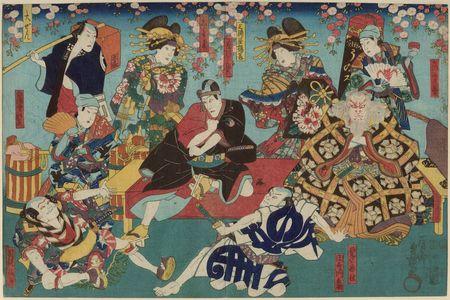 Unknown: Actors Ichikawa Kôzô as Uirôuri, Ichikawa Kodanji IV as Hige no Ikyû, Kataoka Ichizô I as Kandera Monbei, Bandô Shûka I as Miuraya Agemaki, Ichikawa Danjûrô VIII as Hanakawado Sukeroku, Ichikawa Shinsha I as Shiratama, Onoe Shinshichi III as Daizen, Ichik - Museum of Fine Arts